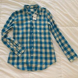 NWT J. Crew Blue Boy Fit Flannel
